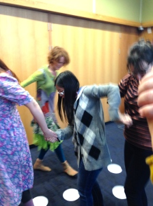 Tara Thornewood leading a group Dramatherapy workshop